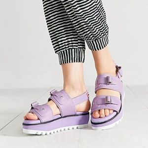 bef8589241a Hunter Shoes - HUNTER Purple Double Buckle Platform Sandals